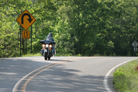 Summertime Motorcycle Riding Scene in the Ozarks